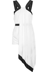 Issa Myriam Belted Draped Silk And Stretch Jersey Top White
