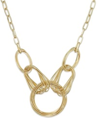 Style And Co. Gold Tone Multi Ring Frontal Necklace