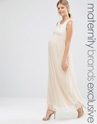Queen Bee Sleeveless Maxi Dress With Geo Sequin Bodice And Tulle Skirt Nude Beige