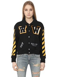 Off White Wool Felt Varsity Jacket With Patches