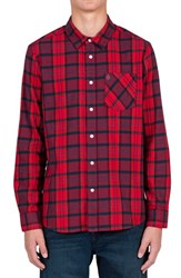 Volcom Men's 'Gaines' Plaid Flannel Shirt Candy Apple
