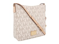Michael Michael Kors Jet Set Travel Large Messenger Vanilla Leather W Pvc Logo Cross Body Handbags Beige