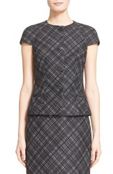 Women's Michael Kors Jacquard Plaid Cap Sleeve Wool Jacket
