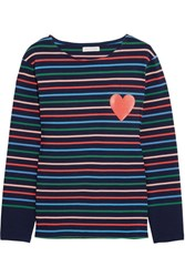 Chinti And Parker Striped Cotton Jersey Top Royal Blue