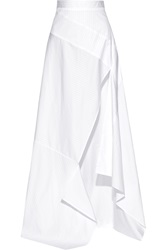 Michael Lo Sordo Side Split Striped Cotton Poplin Maxi Skirt