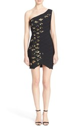 Women's Herve Leger 'Hayley' Beaded And Diamond Quilted One Shoulder Bandage Dress