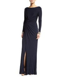 David Meister Embellished Cuff Ruched Gown Navy