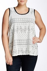 Chelsea And Theodore Lace Front Sleeveless Blouse Plus Size Multi