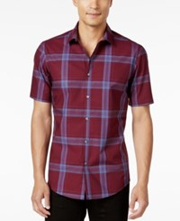 Alfani Men's Slim Fit Short Sleeve Plaid Shirt Only At Macy's Turkish
