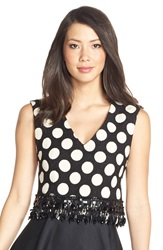 Tracy Reese Embellished Polka Dot Crop Top Black Ecru