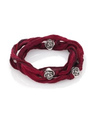King Baby Studio Sterling Silver And Silk Rose Wrap Bracelet Red