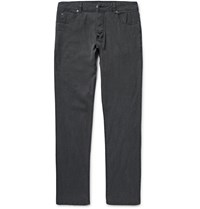 James Perse Garment Dyed Stretch Cotton And Linen Blend Trousers Black