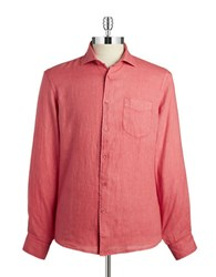 Black Brown Linen Button Front Shirt Mineral Red