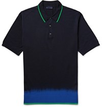 Lanvin Slim Fit Dip Dyed Wool Polo Shirt Midnight Blue