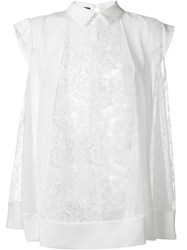Rochas Embroidered Panel Detail Top White