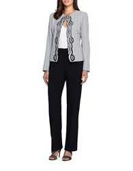 Tahari By Arthur S. Levine Petite Embroidered Jacket And Pants Suit White Black