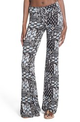 Junior Women's Sun And Shadow Print Stretch Cotton Flare Pants