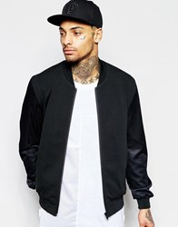 Asos Bomber Jacket With Mesh Sleeve In Black Black