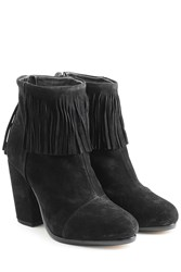 Rag And Bone Suede Newbury Fringe Bootie Black