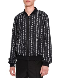 Alexander Mcqueen Barbed Wire Print Bomber Jacket Black White