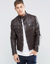 Asos Leather Jacket With Chest Pocket Brown