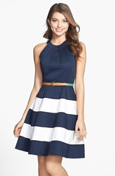 Women's Eliza J Stripe Skirt Cotton Sateen Fit And Flare Dress Navy