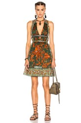 Valentino Pleated V Neck Dress With Leather Painted Details In Green Abstract