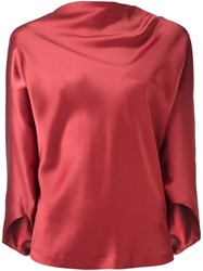 Chalayan Draped Boat Neck Top Pink And Purple