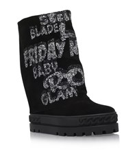 Casadei Chaucer Glitter Words Wedge Boots Female Black
