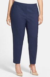 Sejour Plus Size Women's Stretch Ankle Pants Navy Peacoat