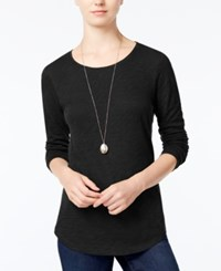 Maison Jules Long Sleeve Crew Neck Top Only At Macy's Deep Black