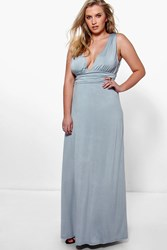 Boohoo Paige Plunge Ruched Maxi Dress Grey
