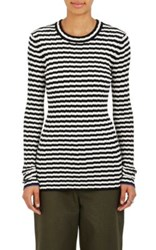 Proenza Schouler Women's Irregular Striped Silk And Cashmere Sweater White