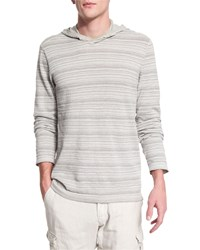 John Varvatos Textured Stripe Long Sleeve Hooded Sweater Flint Women's