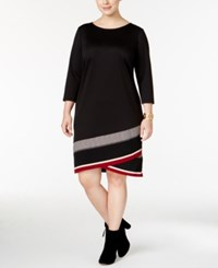 Inc International Concepts Plus Size Striped Shift Dress Only At Macy's Deep Black