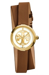 Tory Burch 'Reva' Logo Dial Double Wrap Leather Strap Watch 28Mm Luggage Gold