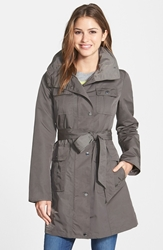 Utility Trench Coat With Removable Hood Regular And Petite Olive
