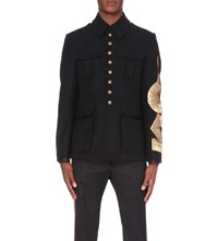 Dries Van Noten Miltary Gold Ribbon Wool Blend Jacket Navy