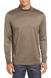 Men's Bugatchi Long Sleeve Mock Neck T Shirt Olive