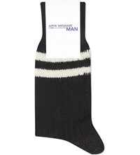 Junya Watanabe Striped Wool Socks Black White