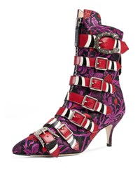 Gucci Susan Jacquard Buckle 65Mm Bootie Purple