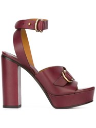 Chloe Buckled Platform Sandals Pink And Purple