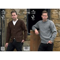 King Cole Men's Sweater And Cardigan Knitting Pattern 4034