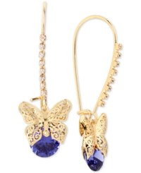Betsey Johnson Gold Tone Filigree Butterfly And Stone Drop Earrings Purple