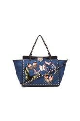 Valentino Butterflies Rockstud Medium Tote In Blue Animal Print