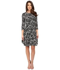 Donna Morgan 3 4 Sleeve A Line Dress Black Ivory Women's Dress