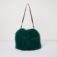 River Island Womens Green Mongolian Wool Leather Strap Bucket Bag