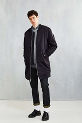 Members Only Sherpa Lined Long Bomber Jacket Black