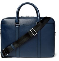 Hugo Boss Signature Slim Grained Leather Briefcase Blue