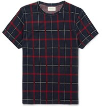 Oliver Spencer Conduit Slim Fit Plaid Knitted Cotton T Shirt Blue